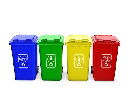 Colorful recycle bins isolated on white background Stock Photo - Budget Royalty-Free & Subscription, Code: 400-08112341