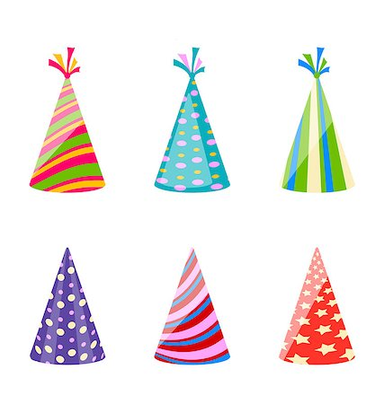 simsearch:400-04369855,k - Illustration set of party colorful hats isolated on white background - vector Stock Photo - Budget Royalty-Free & Subscription, Code: 400-08113357