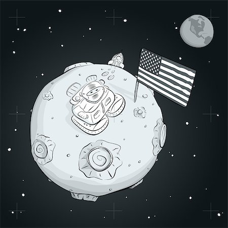 Astronaut on the moon came out of the rocket, raised the flag and looking at the stars. EPS 10 Stock Photo - Budget Royalty-Free & Subscription, Code: 400-08113824