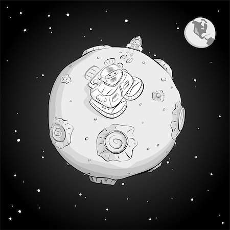 Astronaut on the moon came out of the rocket, and looking up at the stars. Monochrome. EPS10 Stock Photo - Budget Royalty-Free & Subscription, Code: 400-08113823