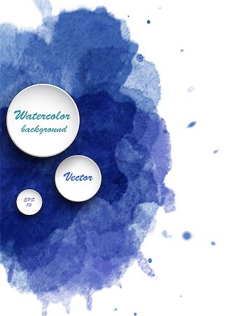 Watercolor vector background. Hand drawing with colored spots and blotches. Stock Photo - Budget Royalty-Free & Subscription, Code: 400-08134478
