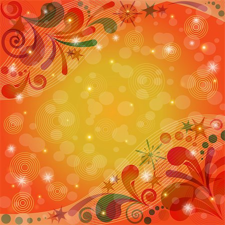 pink and purple fireworks - Red and Orange Christmas Background for Holiday Design with Abstract Colorful Patterns and Stars. Eps10, Contains Transparencies. Vector Stock Photo - Budget Royalty-Free & Subscription, Code: 400-08134622