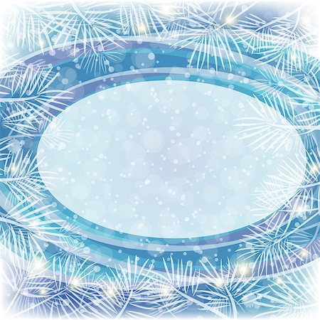 Christmas Blue Background for Holiday Design with Oval Frame, Flashes and White Pine Branches. Eps10, Contains Transparencies. Vector Stock Photo - Budget Royalty-Free & Subscription, Code: 400-08134938