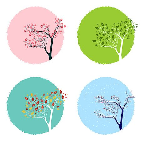Illustration of the trre in four seasons, backgrounds set Stock Photo - Budget Royalty-Free & Subscription, Code: 400-08137656