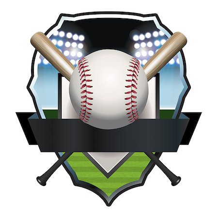 An illustration of a baseball, bat, and field badge template. Vector EPS 10 available. EPS file contains transparencies and gradient mesh. Stock Photo - Budget Royalty-Free & Subscription, Code: 400-08138319