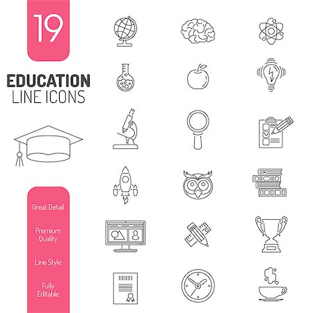Online Education Thin Lines Web Icon Set for Flyer, Poster, Web Site Like mortarboard, books, brain and trophy Stock Photo - Budget Royalty-Free & Subscription, Code: 400-08138741