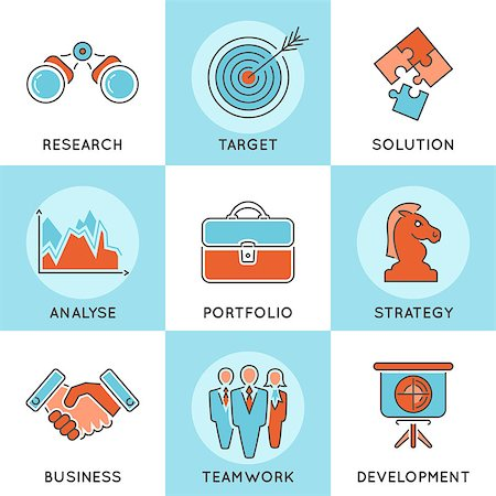 Business Thin Lines Color Web Icon Set with Flat elements for Flyer, Poster, Web Site Like Strategy, Research, Teamwork, Success Stock Photo - Budget Royalty-Free & Subscription, Code: 400-08138754