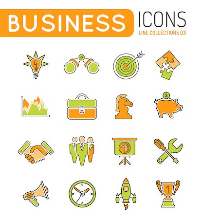Business Thin Lines Color Web Icon Set with Flat elements for Flyer, Poster, Web Site Like Finance, Strategy, Idea, Research, Teamwork, Success Stock Photo - Budget Royalty-Free & Subscription, Code: 400-08138755