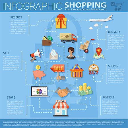 Online Shopping Infographics with flat icons on theme of retail sales marketing, delivery of goods, such as megaphone, shop, technical support, piggy bank, cash signs and symbols Stock Photo - Budget Royalty-Free & Subscription, Code: 400-08138759