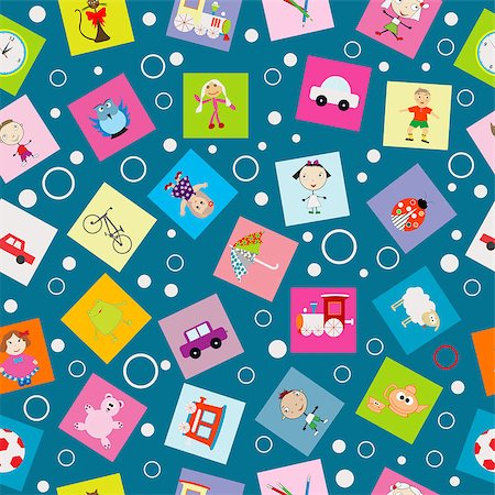 Wrapping paper for kids with cartoon toys Stock Photo - Budget Royalty-Free & Subscription, Code: 400-08132185