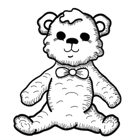 simsearch:400-04598294,k - Hand drawn Illustration of Teddy Bear. Vector Sketch with Cute Children's Toy Isolated on White Stock Photo - Budget Royalty-Free & Subscription, Code: 400-08132219