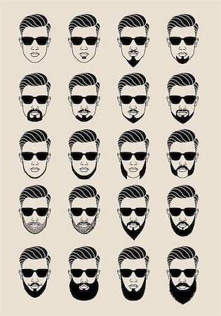 young male face with hipster beards and mustache, bearded user icons, avatar, vector set Stock Photo - Budget Royalty-Free & Subscription, Code: 400-08132801