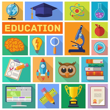 Online Education and E-learning Flat Icon Set for Flyer, Poster, Web Site with long shadow. Vector Illustration. Stock Photo - Budget Royalty-Free & Subscription, Code: 400-08133387