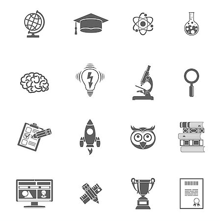 Online Education and E-learning Icon Set for Flyer, Poster, Web Site. Vector isolated on white. Stock Photo - Budget Royalty-Free & Subscription, Code: 400-08133388