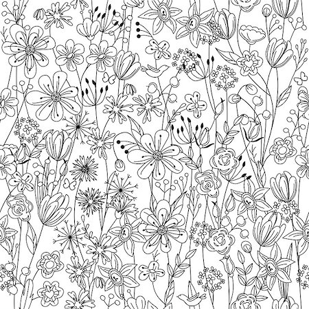 Seamless pattern with contour black-and-white stylized flowers Stock Photo - Budget Royalty-Free & Subscription, Code: 400-08156865