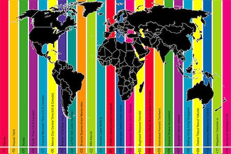 Background with world map and colorful time zones Stock Photo - Budget Royalty-Free & Subscription, Code: 400-08157028