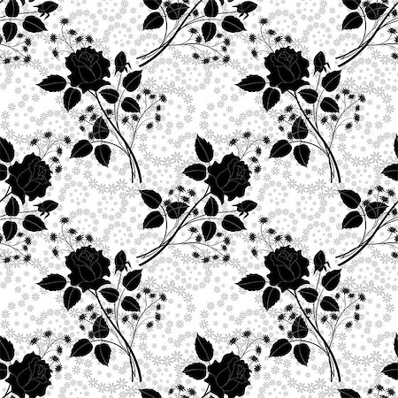 rose vector - Seamless pattern, rose flowers and leaves black silhouettes on grey and white floral background. Vector Stock Photo - Budget Royalty-Free & Subscription, Code: 400-08157291