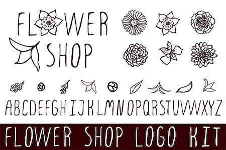 Logo kit with handsketched floral elements for flower shops.  flower shop Stock Photo - Budget Royalty-Free & Subscription, Code: 400-08157836