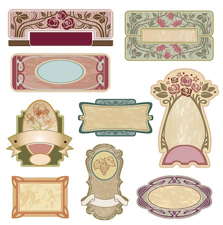 Ornate vintage labels in style Art Nouveau. All elements separately. Stock Photo - Budget Royalty-Free & Subscription, Code: 400-08157965