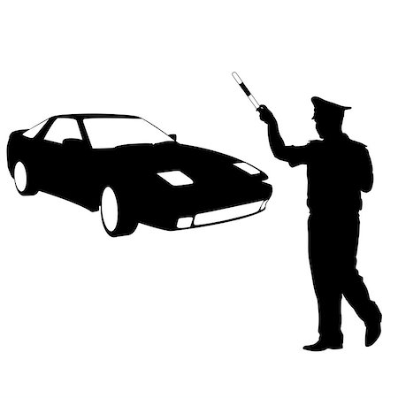 Silhouette, police stopped a car with a rod. Vector illustration. Stock Photo - Budget Royalty-Free & Subscription, Code: 400-08158011