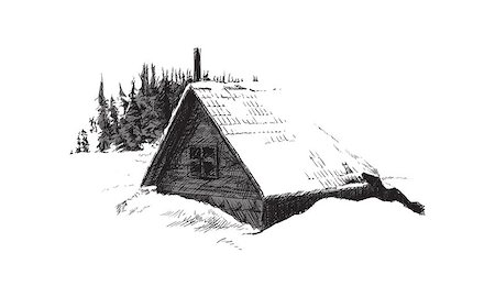 sketch of house in winter forest Stock Photo - Budget Royalty-Free & Subscription, Code: 400-08158200