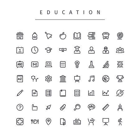 Education Stroke Icons Set. Isolated on white background. Clipping paths included in JPG file. Stock Photo - Budget Royalty-Free & Subscription, Code: 400-08165475