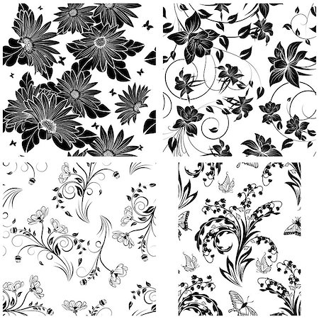 seamless floral - Set of 4 Floral Seamless Patterns design Stock Photo - Budget Royalty-Free & Subscription, Code: 400-08165810