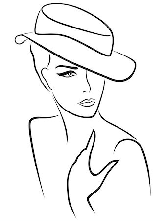 female lips drawing - Elegant young lady in a hat, hand drawing black outline Stock Photo - Budget Royalty-Free & Subscription, Code: 400-08166846