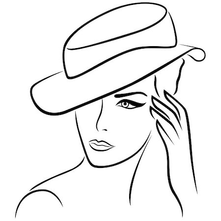 female lips drawing - Elegant young girl in a hat, hand drawing black vector outline Stock Photo - Budget Royalty-Free & Subscription, Code: 400-08166847