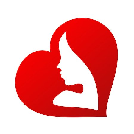 simsearch:400-04863562,k - woman face silhouette inside of a heart shape isolated on white background Stock Photo - Budget Royalty-Free & Subscription, Code: 400-08167052