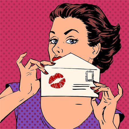 girl with the envelope for the letter and kiss lipstick pop art retro style Stock Photo - Budget Royalty-Free & Subscription, Code: 400-08160679