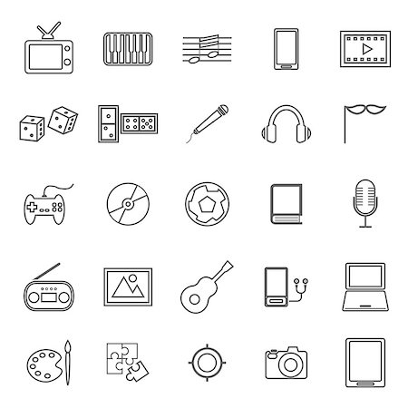 Entertainment line icons on white background, stock vector Stock Photo - Budget Royalty-Free & Subscription, Code: 400-08162144