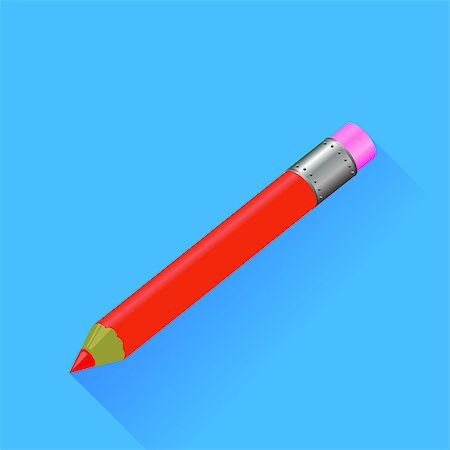 scalable - Red Pencil Isolated on Blue Background. Long Shadow. Stock Photo - Budget Royalty-Free & Subscription, Code: 400-08163653