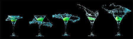 Cocktail collection isolated on black background Stock Photo - Budget Royalty-Free & Subscription, Code: 400-08186431