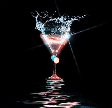 colourful cocktail on the black background. Party club entertainment. Mixed light Stock Photo - Budget Royalty-Free & Subscription, Code: 400-08186443