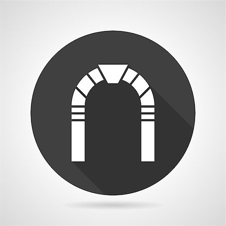 Flat black round vector icon with white archway on gray background. Stock Photo - Budget Royalty-Free & Subscription, Code: 400-08188662