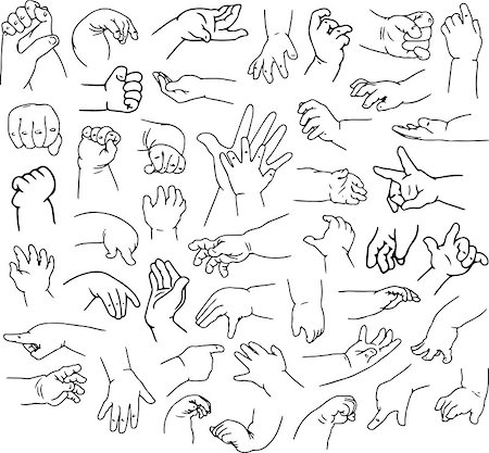 Vector illustrations pack of baby hands in various gestures. Stock Photo - Budget Royalty-Free & Subscription, Code: 400-08188947