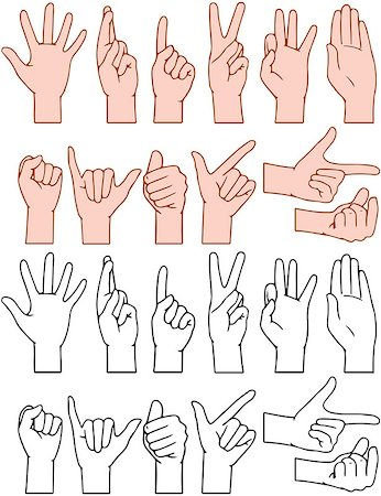 Vector illustrations pack of universal gestures of hands Stock Photo - Budget Royalty-Free & Subscription, Code: 400-08188958