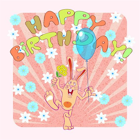 birthday greeting card with rabbit, vector illustration Stock Photo - Budget Royalty-Free & Subscription, Code: 400-08189289