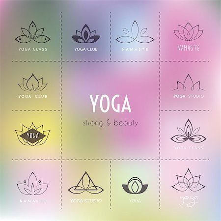 Vector illustration of Set of logos for a yoga studio Stock Photo - Budget Royalty-Free & Subscription, Code: 400-08194444