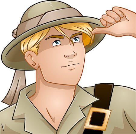 Vector illustration of a blond nature explorer looking up. Stock Photo - Budget Royalty-Free & Subscription, Code: 400-08195761