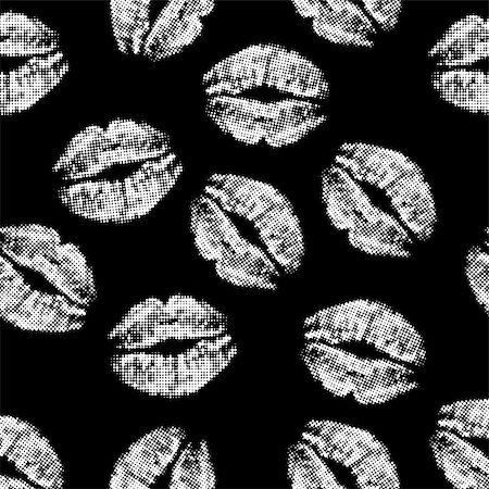 simsearch:400-04801287,k - Seamless texture of white lips prints on  black background. vector illustration. Stock Photo - Budget Royalty-Free & Subscription, Code: 400-08195895