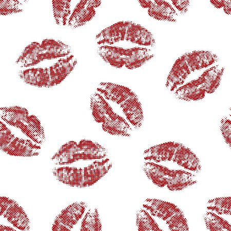 simsearch:400-04801287,k - Seamless texture of red lips prints on white background. vector illustration. Stock Photo - Budget Royalty-Free & Subscription, Code: 400-08195908