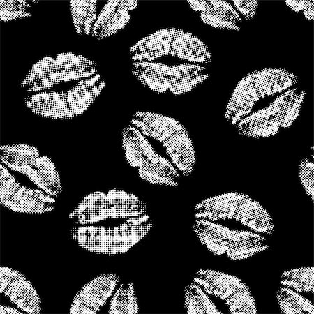 simsearch:400-04801287,k - Seamless texture of white lips prints on black background. vector illustration. Stock Photo - Budget Royalty-Free & Subscription, Code: 400-08195911