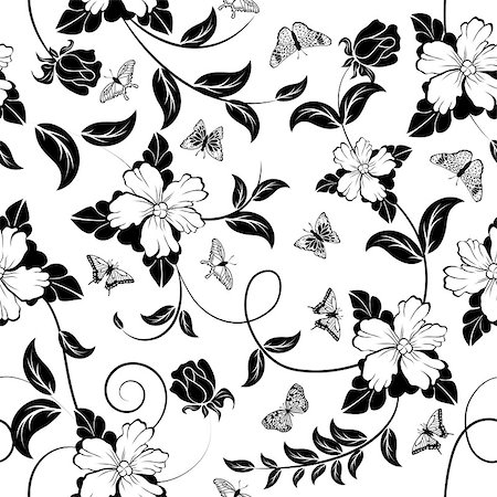 seamless floral - Seamless floral ornate  pattern in Black and White Colors Stock Photo - Budget Royalty-Free & Subscription, Code: 400-08195989