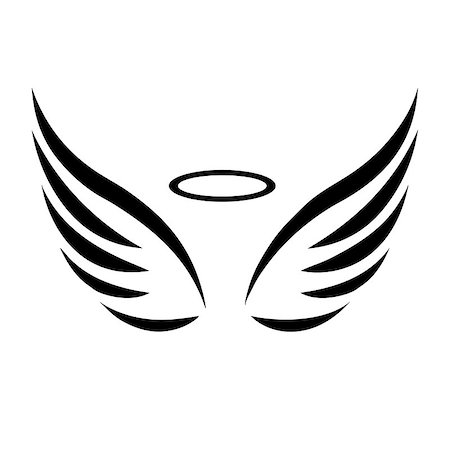 scalable - Vector sketch of angel wings on white background Stock Photo - Budget Royalty-Free & Subscription, Code: 400-08196268