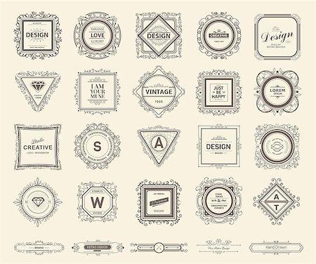 Monogram  luxury logo template with flourishes calligraphic elegant ornament elements. Luxury elegant design for cafe, restaurant, bar, boutique, hotel, shop, store, heraldic, jewelry, fashion Stock Photo - Budget Royalty-Free & Subscription, Code: 400-08196996