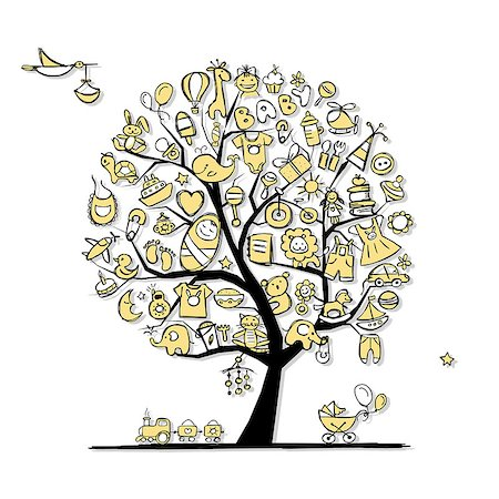 Art tree with baby toys for your design. Vector illustration Stock Photo - Budget Royalty-Free & Subscription, Code: 400-08197185