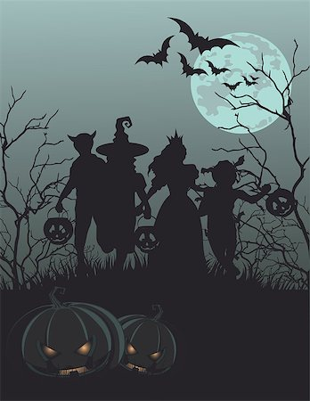 Halloween background with silhouettes of children trick or treating Stock Photo - Budget Royalty-Free & Subscription, Code: 400-08198147