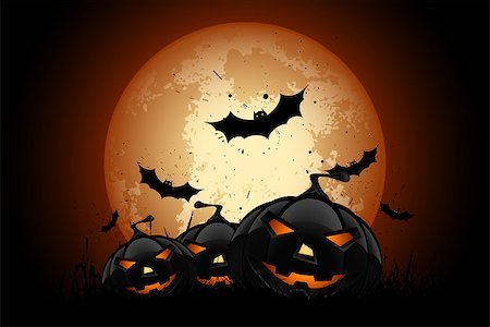 Happy Halloween Poster. Holiday Illustration with Bats and Pumpkins. Stock Photo - Budget Royalty-Free & Subscription, Code: 400-08198625
